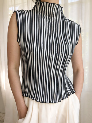 Vintage Striped Pleated Top - S/M