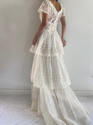 1950s Organdy Eyelet Tiered Gown -XS