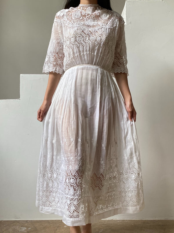 Edwardian Embroidered Dress with Crochet Panel - XXS