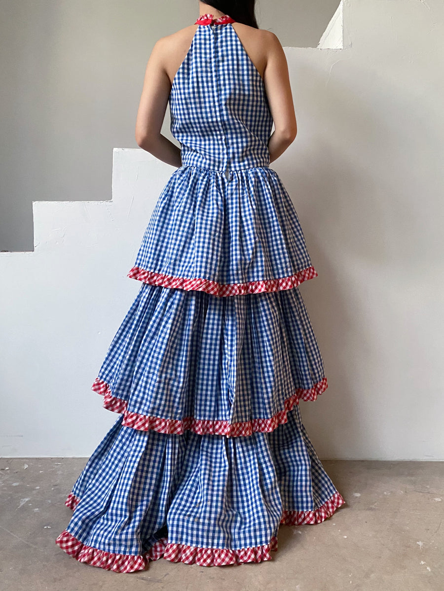1970s Gingham Cotton Tiered Dress - S