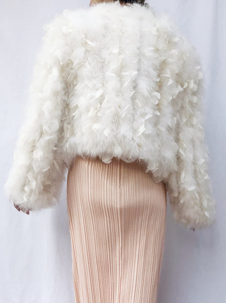 Vintage Ivory Feather Short Jacket - S/M