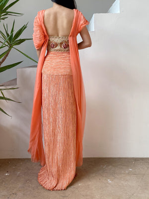 1980s Coral Mary McFadden Pleated Strapless Dress - M/8