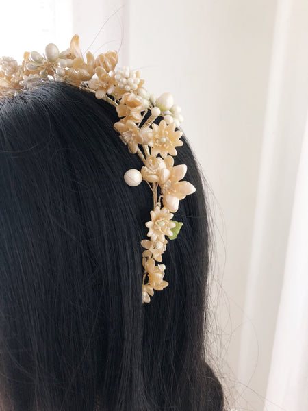 1920s Wax Tiara with Buds and Flowers