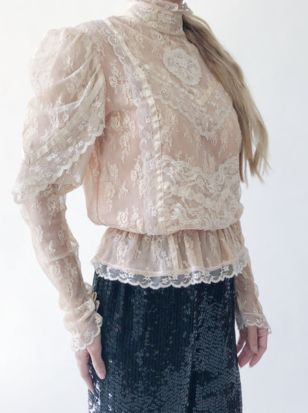 1970s Ecru Lace and Cotton Elastic Top - XS/S
