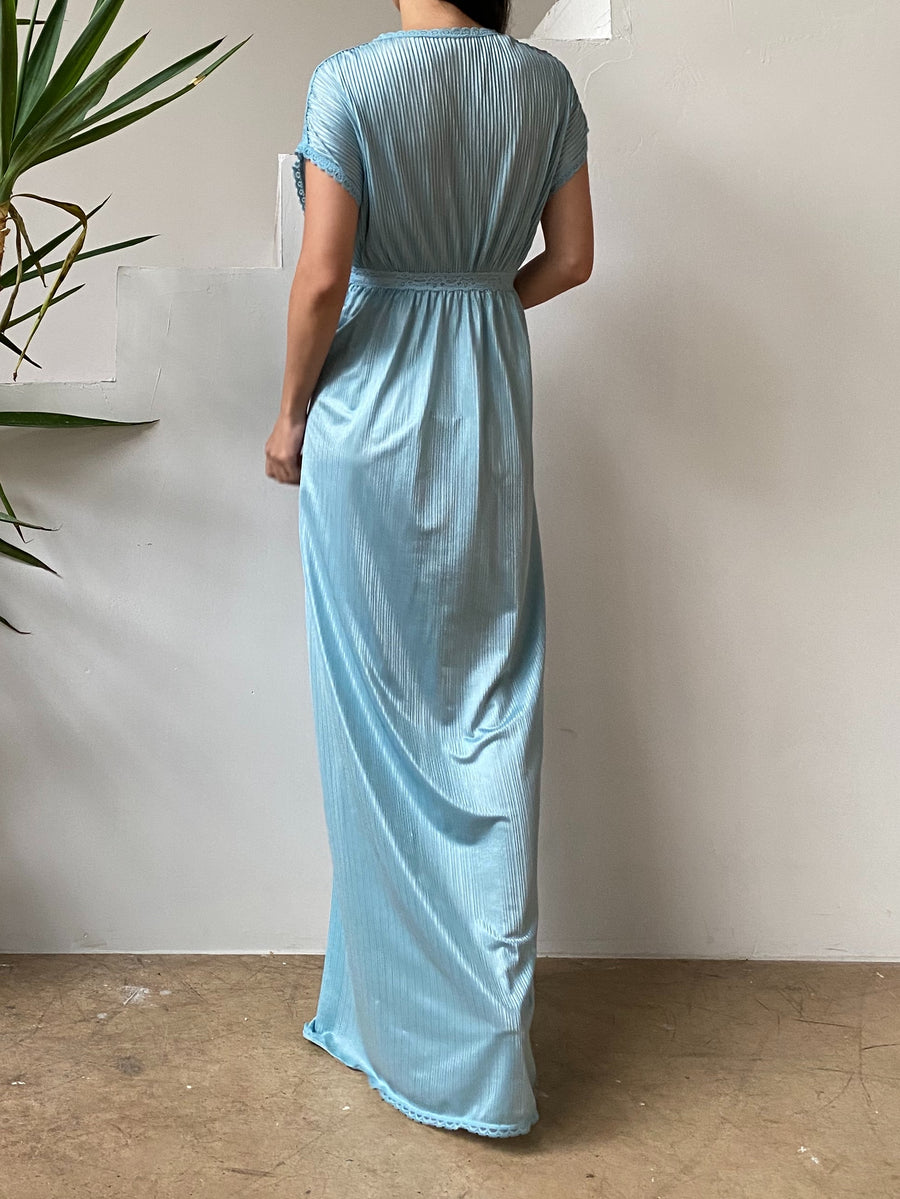 1950s Blue Pleated Nylon Slip Gown - S/M