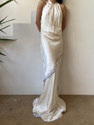 Silk Charmeuse Bias Cut Wedding Dress - M/8