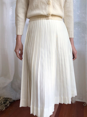 1950s Ivory Pleated Skirt - XS