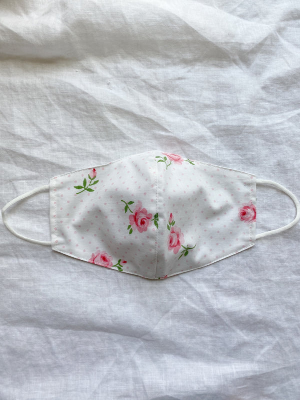 2-in-1 Reversible Dotted Rose Face Mask with Filter Slot