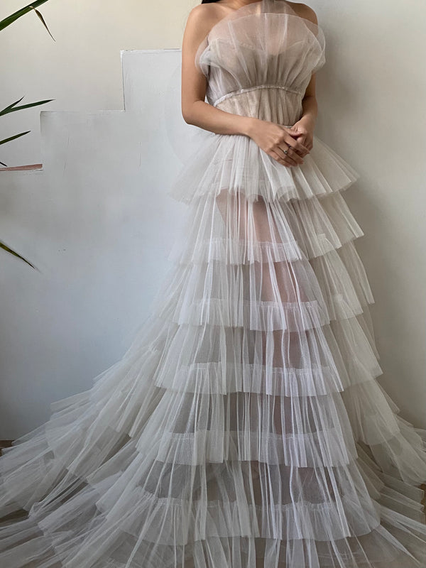 1950s Sheer Pleated Tulle Gown - S
