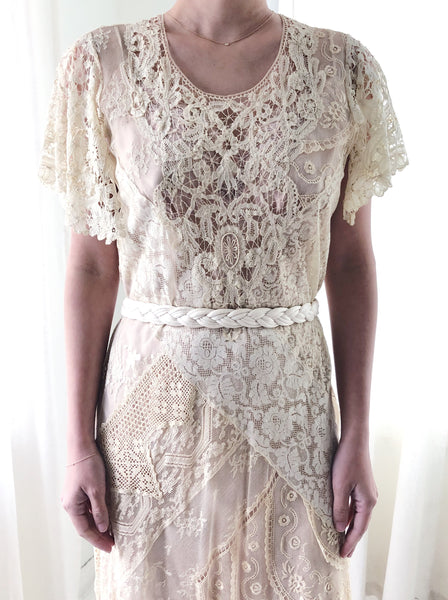 1930s Detailed Mixed Lace Dress  - S