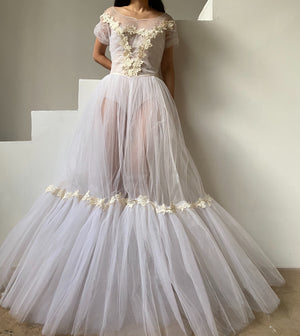1950s Sheer Tulle Gown - S