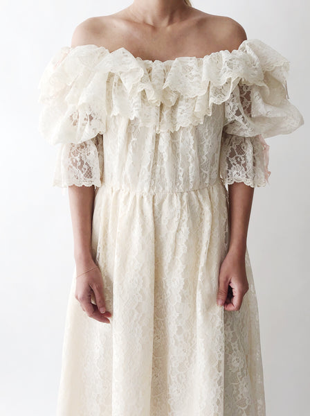 1980s Lace Off-the-Shoulder Dress - M