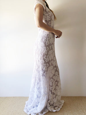 Vintage Alencon Lace Dress - S