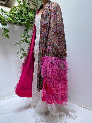 Antique Lame Feather Trimmed Cape - OSFM