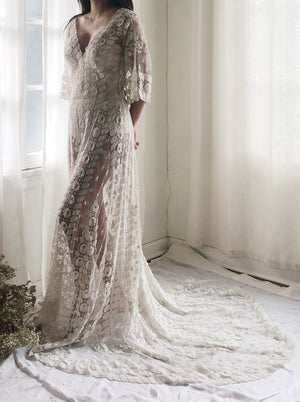 Antique Embroidered Lace Gown - S