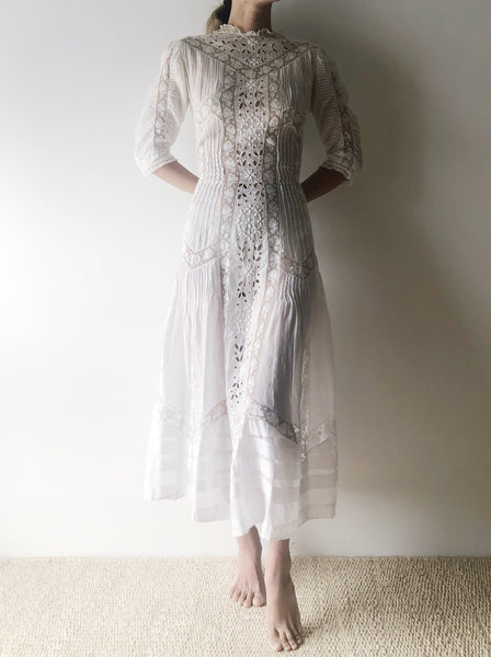 Antique Whitework Embroidered Lace Lawn Dress - S/M