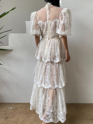 1980s Embroidered Net Tulle Dress - S
