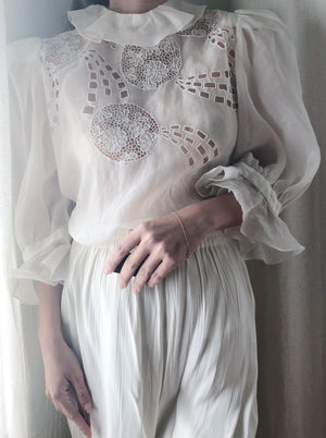 1960s Silk Organza Embroidered Top - S/M