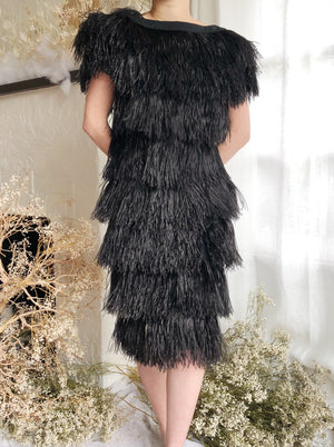 Vintage Couture Ostrich Feather Dress - S/M