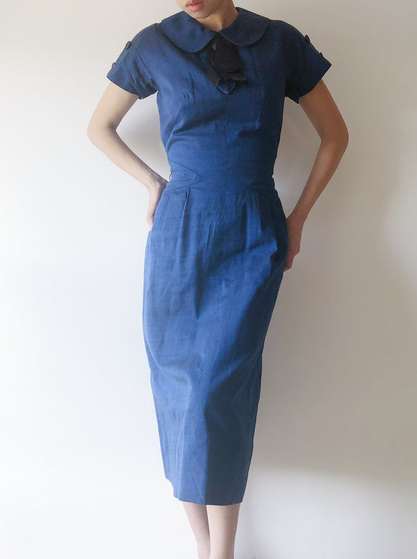 1950s Blue Linen Fitted Dress - XS/S