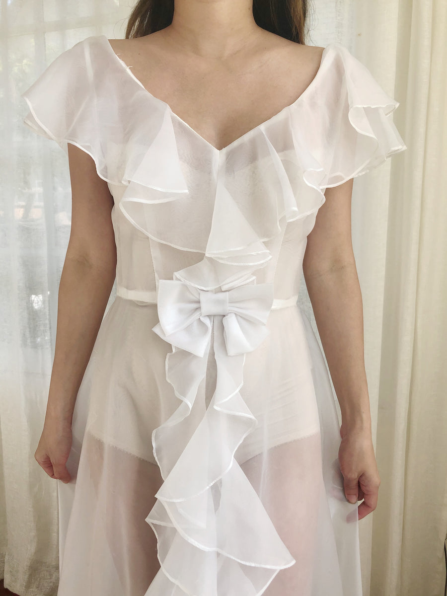 Vintage White Ruffle Nylon Chiffon Dress - S