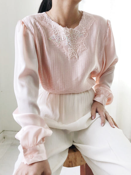 Vintage Light Pink Pleated Satin Top - M