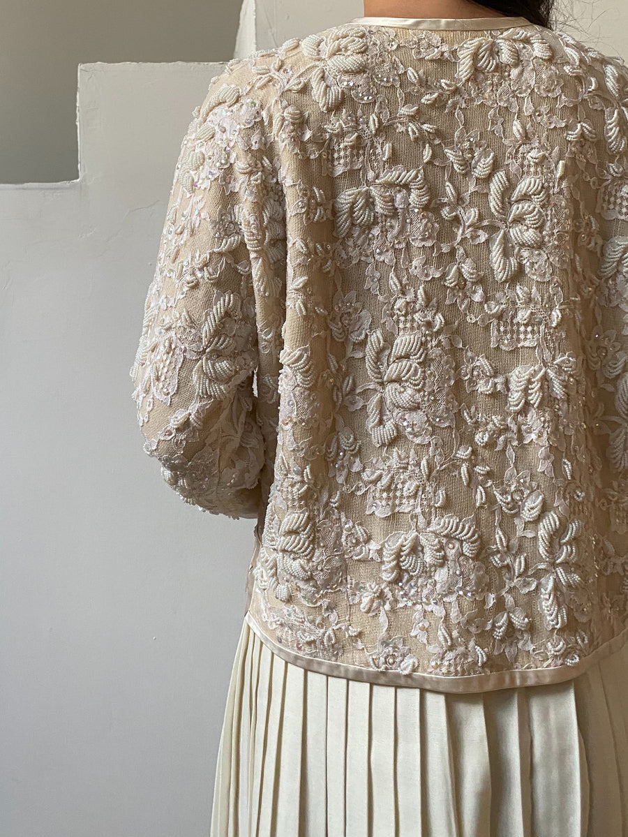 1950s Ivory Beaded Lace Cardigan - S