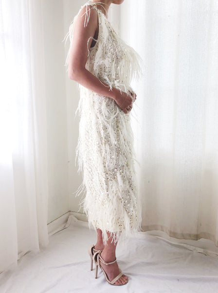 1960s Sequins Feather Dress - S/M