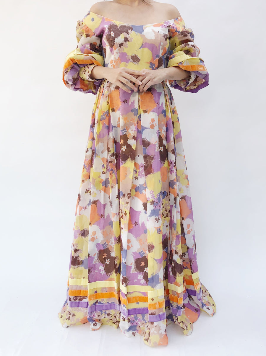 1960s Floral Puff Sleeve Dress - M
