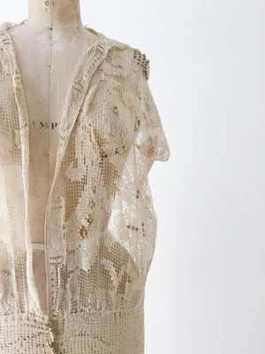 1920s Ecru Filet Lace Overdress - M