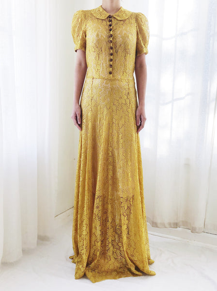 1940s Yellow Silk Lace Gown - S