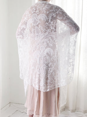 Antique White Lace Shawl - One Size