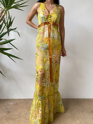 1970s Sheer Yellow Floral Dress - S