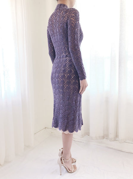 1970s Eggplant Long Sleeves Crochet Dress - XS/S
