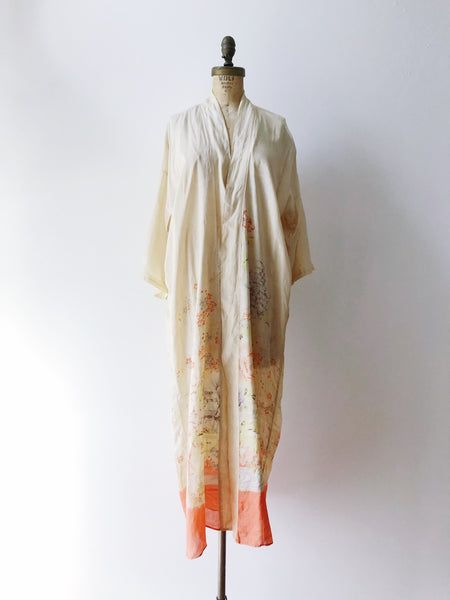 1920s Tissue Silk Beige Floral Robe - One Size