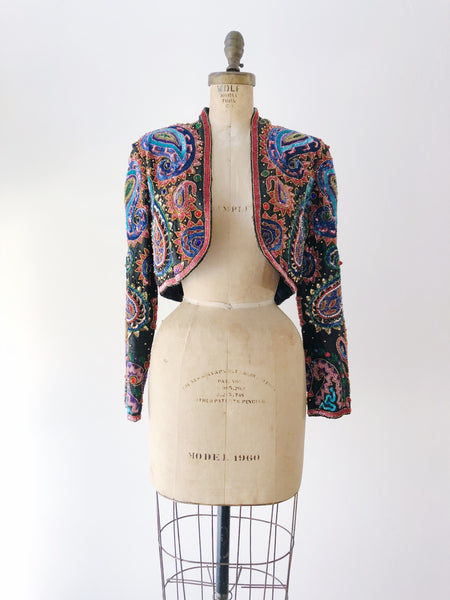 1980s Cropped Silk Beaded Paisley Jacket - S/M
