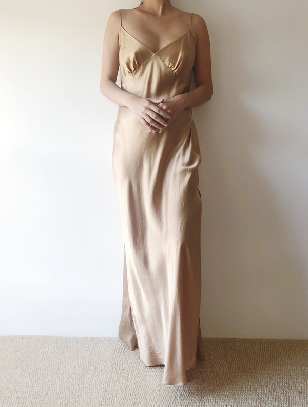 1980s Gold Silk Bias Cut Slip Dress - S