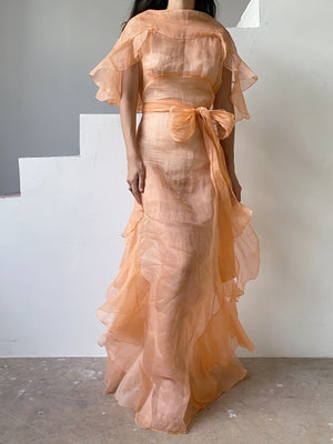 1930s Peach Reversible Silk Organdy Sheer Gown - S