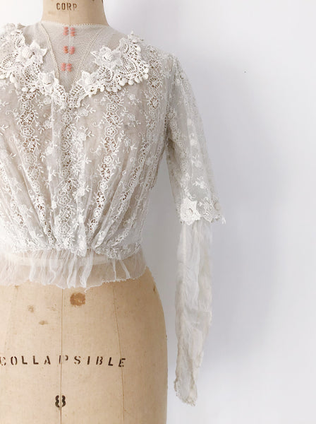 Edwardian Embroidered Lace Bodice - XS/S
