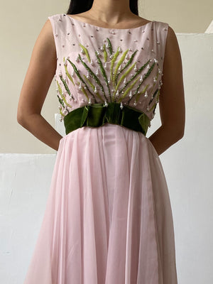 1960s Chiffon Pearl Beaded Dress - S/M