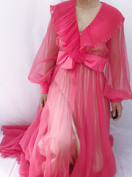 1960s Fuchsia Chiffon Dressing Gown/Duster- S/M
