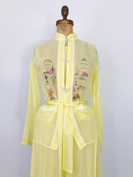 Deadstock 1940s Yellow Hand-painted Pajama Set - S/M