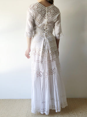 Antique Pintucked Embroidered Cotton Dress - XS