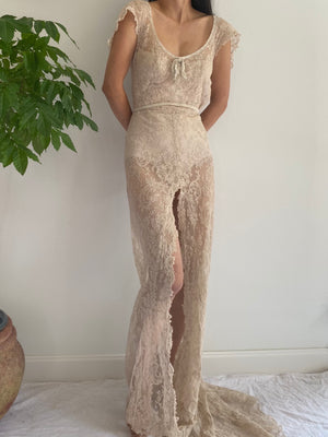 1930s Sheer Alencon Lace Gown - XS