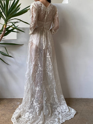 Antique Tambour Lace Gown - S/M
