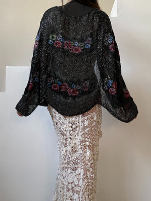 1930s Black Chiffon Beaded Cape - One Size
