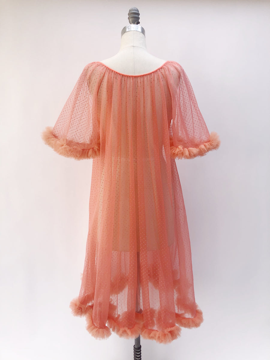 1960s Sherbet Tricot Dressing Gown/Duster - One Size