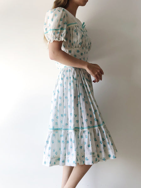 1950s Cotton Puff Sleeves Dress - XS/S