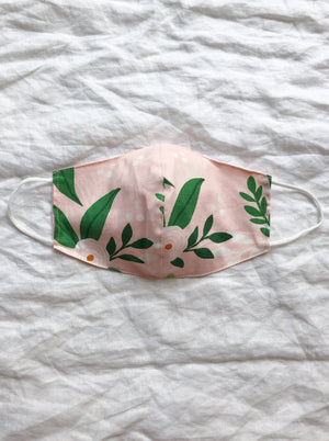 2-in-1 Reversible Pink Florals Cotton Face Mask with Filter Slot