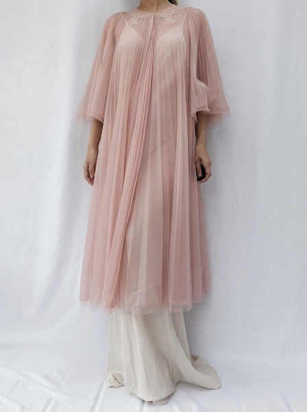 1960s Antique Rose Sheer Pleat Dressing Gown - One Size